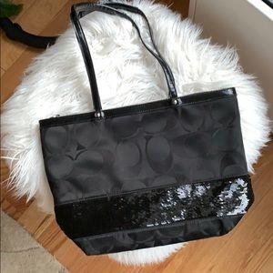 Coach black sequin mini tote, never used